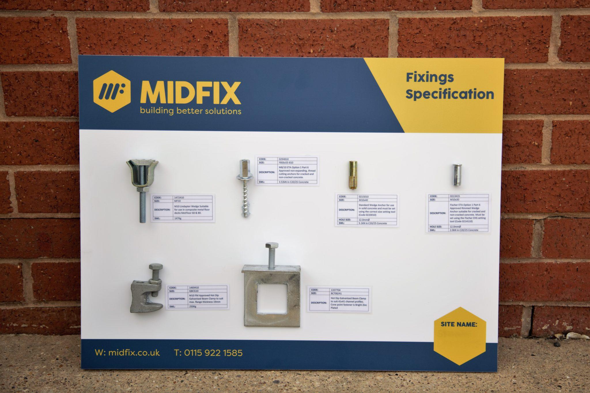 Fixings Specification Board