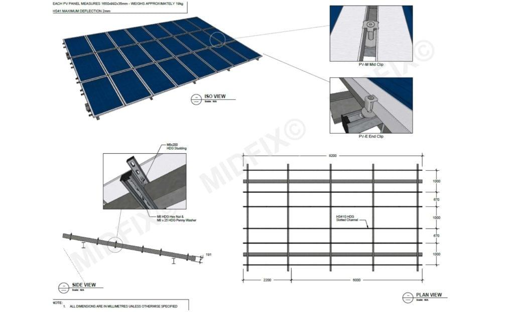 Solar Panel support drawing - MIDFIX