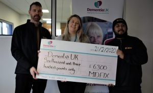 MIDFIX presenting cheque to Dementia UK