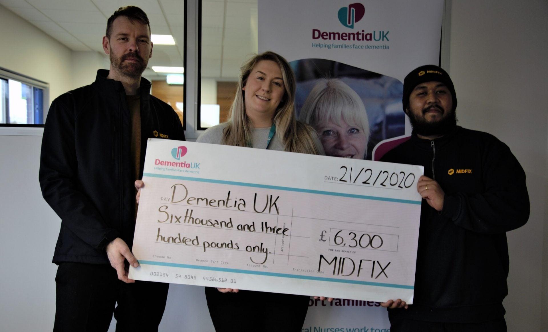 MIDFIX presenting cheque to Dementia UK