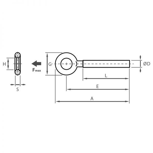 BZP forged eyebolt diagram