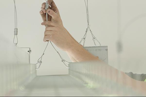 wire suspension system installed