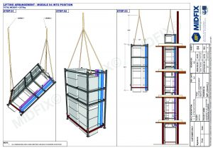 Technical drawing showing core riser lift